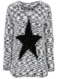 Пуловер в стиле оверсайз (нежно-розовый/светло-серый мел) Bonprix