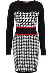 Вязаное платье (черный/белый/лазурный) Bonprix