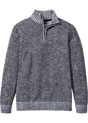 Пуловер Regular Fit с высоким воротом (синий/белый меланж) Bonprix