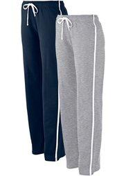 Трикотажные брюки для бега (2 шт.) (черный + светло-серый меланж) Bonprix