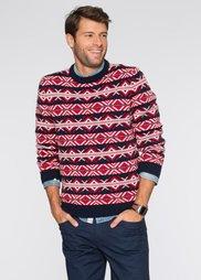 Пуловер Regular Fit (темно-синий/красный/цвет белой) Bonprix