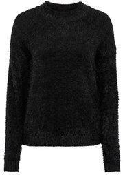 Пуловер прямого покроя (цвет белой шерсти/голубой в по) Bonprix