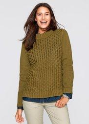 Пуловер с воротником-стойкой (омелово-зеленый) Bonprix