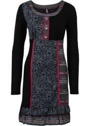 Вязаное платье с яркими вставками (темно-серый меланж) Bonprix