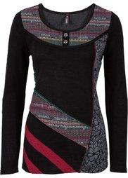 Вязаный пуловер с разноцветными вставками (темно-серый меланж) Bonprix