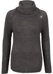 Пуловер с высоким воротом (цвет белой шерсти/золотистый) Bonprix