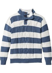 Пуловер Regular Fit с воротником с отделкой из искусственного меха (серый в полоску) Bonprix