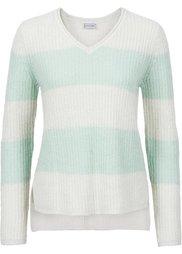 Пуловер с люрексом (натуральный/кофейный в полоску) Bonprix