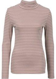 Пуловер с высоким воротом (цвет белой шерсти/черный в поп) Bonprix