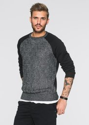 Пуловер с трикотажными рукавами и спинкой Slim Fit (черный) Bonprix