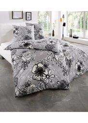 Постельное белье Цветок, ренфорс (серый) Bonprix