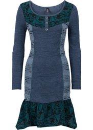 Вязаное платье (серый меланж/красный) Bonprix
