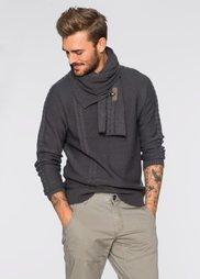 Пуловер со съемным шарфиком Slim Fit (антрацитовый) Bonprix