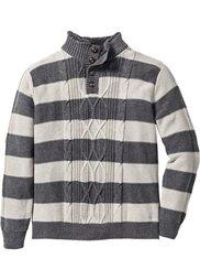 Пуловер Regular Fit с воротником с отделкой из искусственного меха (синий джинсовый/белый в полоск) Bonprix