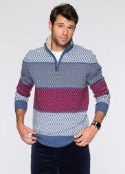 Пуловер Regular Fit с высоким воротом на молнии (синий/цвет белой шерсти/красны) Bonprix