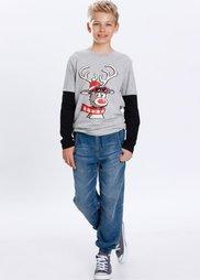 Футболка с забавным мотивом лося, Размеры  116/122-164/170 (светло-серый меланж) Bonprix
