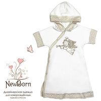 Крестильное платье с капюшоном, тесьма, р-р 62, NewBorn, белый