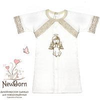 Крестильная рубашка с тесьмой, р-р 74, NewBorn, белый