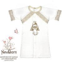 Крестильная рубашка с тесьмой, р-р 80, NewBorn, белый