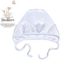 Чепчик для крещения с шитьем, р-р 40, NewBorn, белый