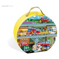 """Пазл в круглом чемоданчике """"Транспорт"""", 100 деталей, Janod"""