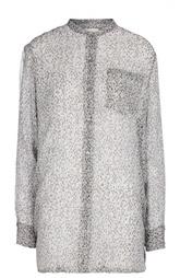 Полупрозрачная удлиненная блуза с воротником-стойкой и накладным карманом Dries Van Noten