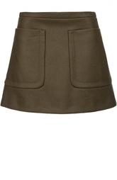 Шерстяная мини-юбка А-силуэта с накладными карманами No. 21