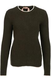 Шерстяной пуловер с круглым вырезом и контрастной отделкой No. 21