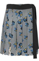 Шелковая мини-юбка в складку с поясом и цветочным принтом Dorothee Schumacher