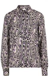 Хлопковая блуза прямого кроя с контрастным принтом Dries Van Noten