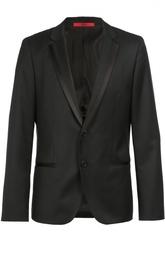 Однобортный пиджак с атласной отделкой Hugo