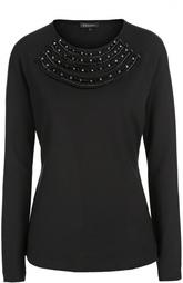 Пуловер прямого кроя с круглым вырезом и декоративной отделкой Escada