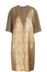 Платье прямого кроя с металлизированной отделкой Dries Van Noten