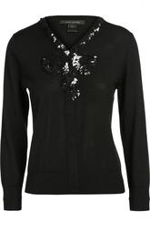 Шерстяной пуловер с V-образным вырезом и пайетками Marc Jacobs