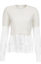 Шерстяной пуловер с полупрозрачными баской и рукавами No. 21
