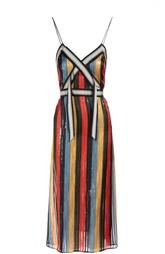 Плиссированное приталенное платье в контрастную полоску Marco de Vincenzo