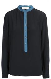 Шелковая блуза с контрастной отделкой и воротником-стойкой Stella McCartney