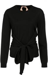 Шерстяной пуловер с круглым вырезом и декоративным бантом No. 21