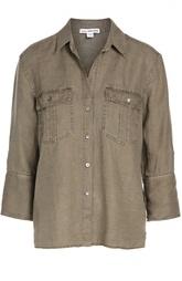 Льняная блуза прямого кроя с накладными карманами и укороченным рукавом James Perse