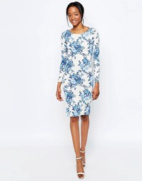 Платье миди с тропическим цветочным принтом Glamorous
