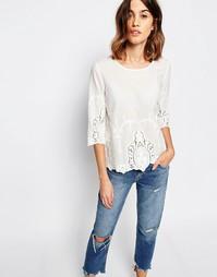 Блузка с отделкой резным кружевом Vila - Снежно-белый