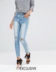 Рваные укороченные джинсы скинни с высокой талией Liquor & Poker