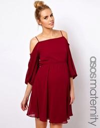 Короткое платье для беременных с открытыми плечами ASOS Maternity