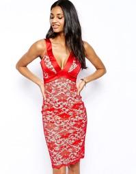 Кружевное платье-футляр с глубоким вырезом Hybrid