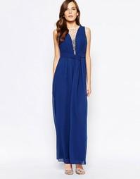 Платье макси с глубоким вырезом и отделкой Little Mistress - Синий