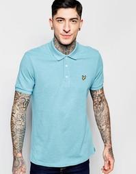 Меланжевая футболка‑поло цвета морской волны с логотипом Lyle & Scott