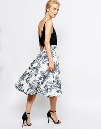 Расклешенная юбка миди с цветочным принтом Closet - Белый