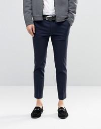 Темно-синие супероблегающие укороченные брюки строго кроя ASOS