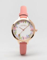 Часы с розовым ремешком и цветочным принтом на циферблате Johnny Loves