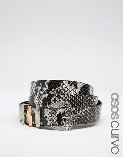 Ремень в стиле вестерн с эффектом змеиной кожи ASOS CURVE - Белый